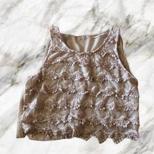 Nude Lace Pattern Crop Top - Size Small